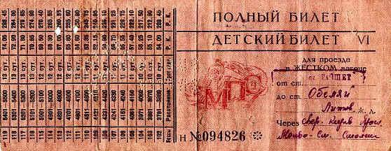 Tremtinės O. Abariūtės-Abarienės geležinkelio bilietas iš Taišeto į Obelius, 1956 m.
